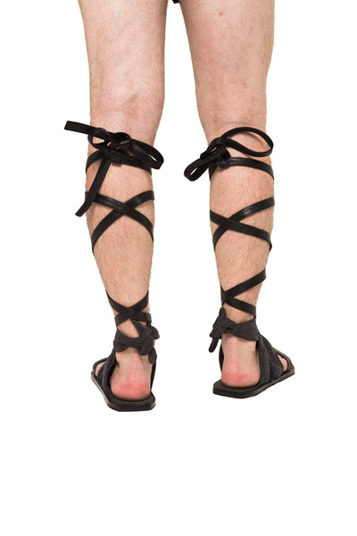 Shop Emerging Slow Fashion Genderless Avant-garde Designer Mark Baigent UNITAS Collection Stone washed Cotton and Reclaimed Leather Bound Strap Sandals at Erebus
