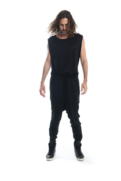 Shop Emerging Avant-garde Genderless Brand Nobody Black Silk Brynjar Jogging Pants at Erebus