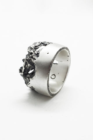 Shop Emerging Slow Fashion Avant-garde Jewellery Brand OSS Haus Broken Dreams Collection Oxidised Silver Citizen Band Ring at Erebus