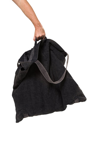 Shop Emerging Slow Fashion Genderless Avant-garde Designer Mark Baigent UNITAS Collection Stone Washed Cotton Denim Big Bag at Erebus