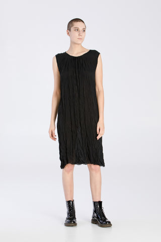 Shop Emerging Slow Fashion Baltic Knitwear Designer Baiba Ripa Black Sleeveless Crinkled Silk Tunica Dress at Erebus