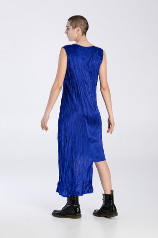 Shop Emerging Slow Fashion Baltic Knitwear Designer Baiba Ripa Royal Blue Sleeveless Silk Asymmetric Dress at Erebus