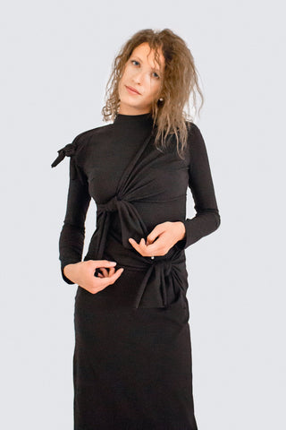 Shop Emerging Slow Fashion Womenswear Brand CLON8 Black Knock Me Down Dress at Erebus