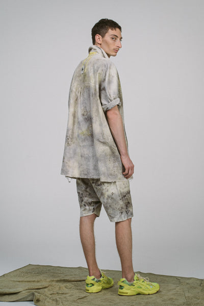 Shop Conscious Contemporary Brand Zsigmond Dora Menswear Roots SS21 Collection Vintage Canvas Fawn Shirt at Erebus