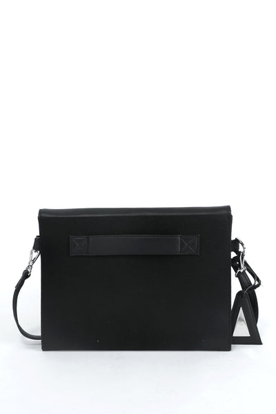 Emerging slow fashion handbag designer Anoir by Amal Kiran Jana black leather and cotton canvas Cross Body Clutch - Erebus