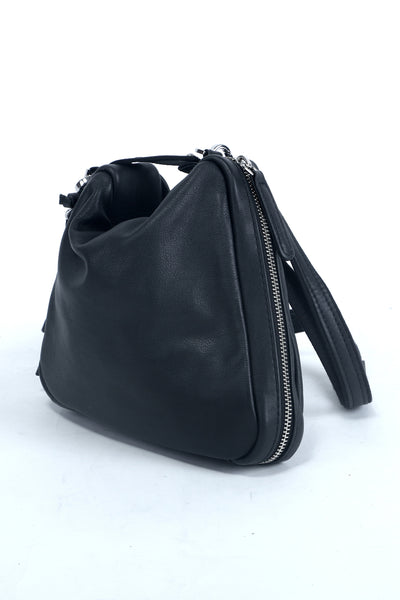 Shop emerging slow fashion accessory designer Anoir by Amal Kiran Jana black leather Transform Pochette - Erebus