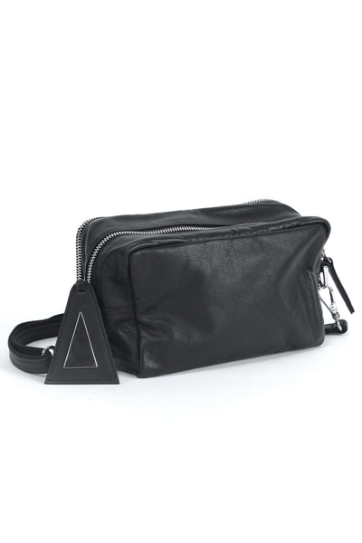 Shop emerging slow fashion handbag designer Anoir by Amal Kiran Jana black leather Cross Body Pochette - Erebus