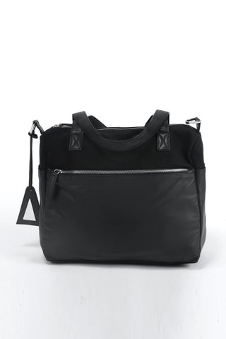 Shop emerging slow fashion handbag designer Anoir by Amal Kiran Jana black leather and cotton canvas Anoir Satchel - Erebus