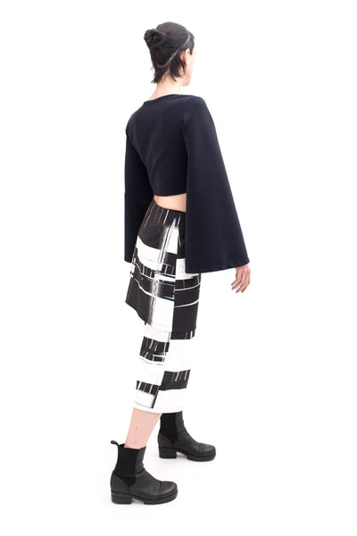 Shop Emerging Slow Fashion Futuristic Unisex Brand Fuenf Fractal Culottes Wrap Skirt at Erebus