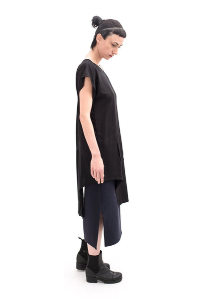 Shop Emerging Slow Fashion Futuristic Unisex Brand Fuenf Black Tunic at Erebus