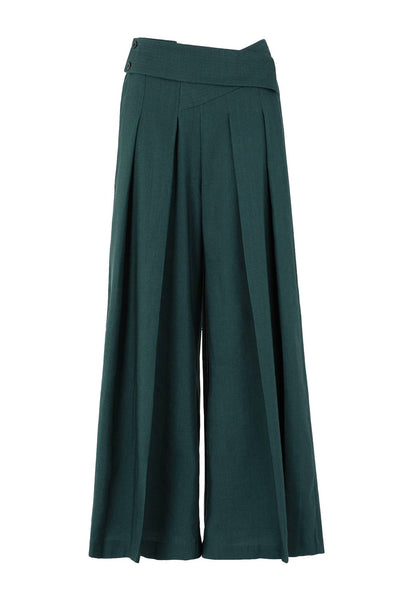 Shop Emerging Slow Fashion Conscious Conceptual Brand Cora Bellotto Green Wide Leg Pleated Forest Pants at Erebus