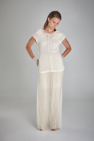 Shop Emerging Slow Fashion Baltic Knitwear Designer Baiba Ripa Ivory Hand Knit Cotton Almelo Top at Erebus