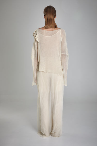 Shop Emerging Slow Fashion Baltic Knitwear Designer  Baiba Ripa Ivory Hand Knit Japanese Paper Sintra Pullover at Erebus