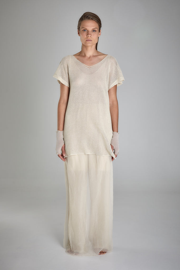Shop Emerging Slow Fashion Baltic Knitwear Designer  Baiba Ripa Ivory Hand Knit Japanese Paper Klos Tunic at Erebus