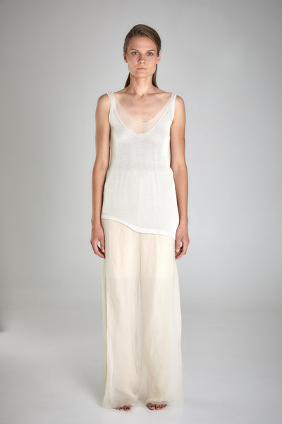 Shop Emerging Slow Fashion Baltic Knitwear Designer Baiba Ripa Ivory Hand Knit Giza Cotton Odense Vest Top at Erebus