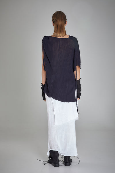 Shop Emerging Slow Fashion Baltic Knitwear Designer  Baiba Ripa Sleeveless Dark Blue Hand Knit Manhay Top at Erebus