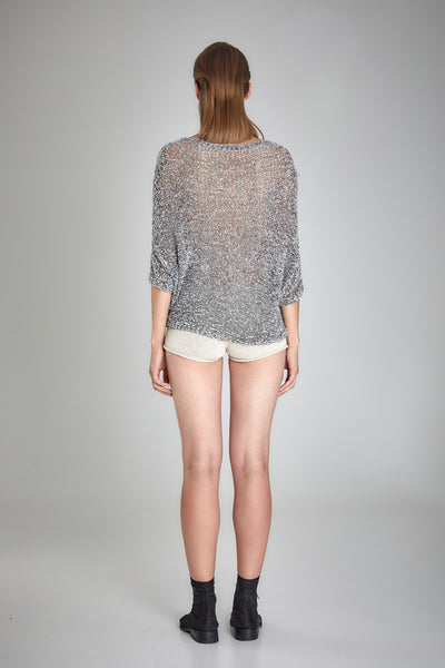 Shop Emerging Slow Fashion Baltic Knitwear Designer  Baiba Ripa Light Grey Hand Knit Jonava Top at Erebus