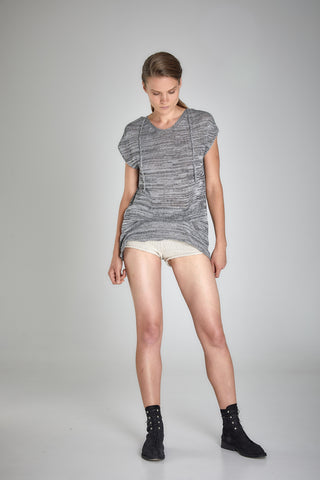 Shop Emerging Slow Fashion Baltic Knitwear Designer Baiba Ripa Grey Melange Hand Knit Giza Cotton Rehia Top at Erebus