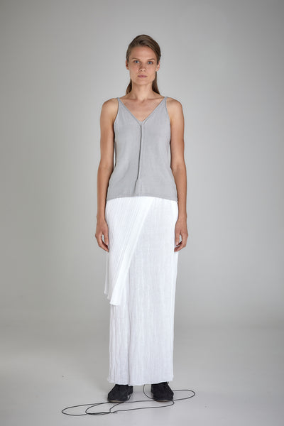 Shop Emerging Slow Fashion Baltic Knitwear Designer Baiba Ripa Light Grey Hand Knit Giza Cotton Narva Vest Top at Erebus