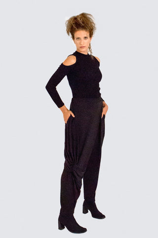 Shop Emerging Slow Fashion Womenswear Brand CLON8 Black Taboo Knot Pants at Erebus