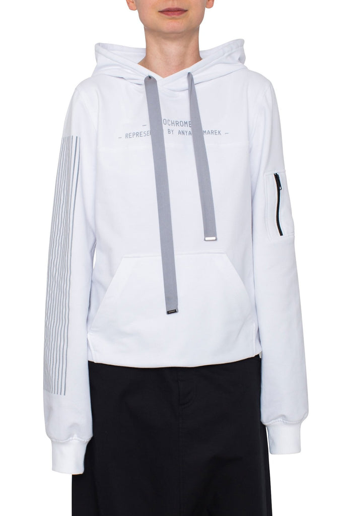 Shop Emerging Brand Monochrome White Lines Hoodie at Erebus