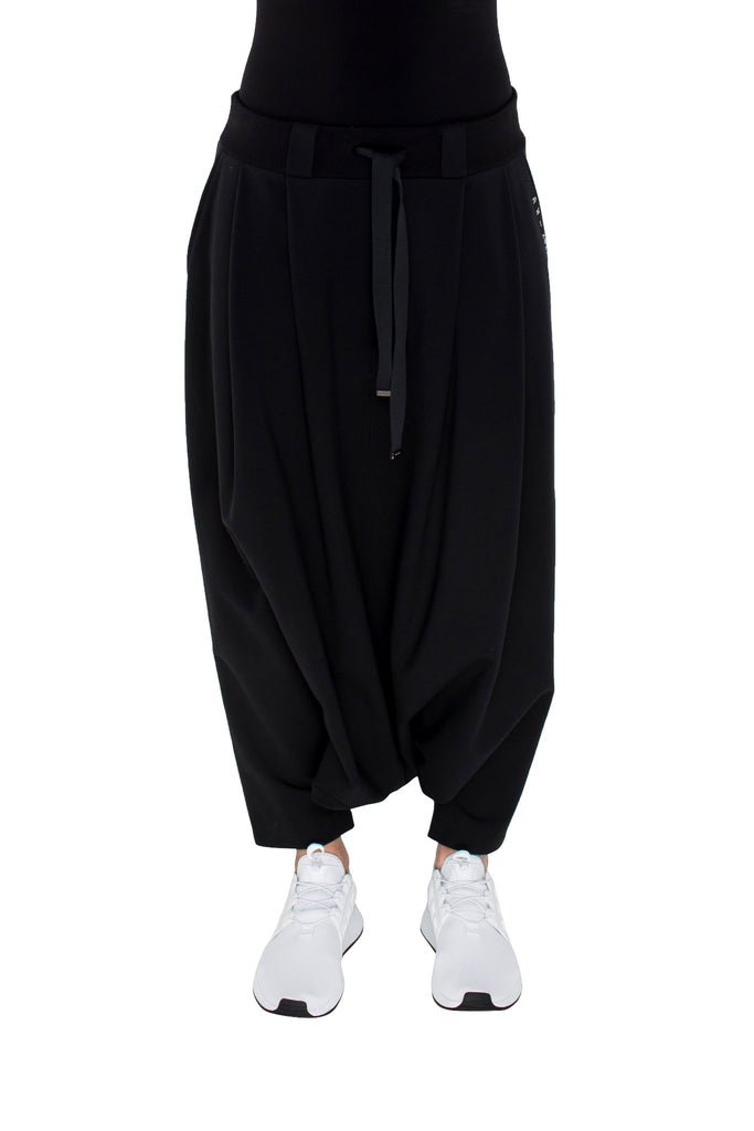 Shop Emerging Brand Monochrome Black Drop Crotch Pants at Erebus