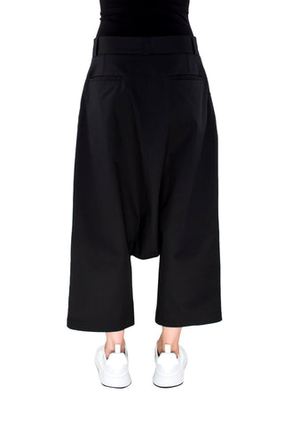 Shop Emerging Brand Monochrome Black Drop Trousers at Erebus