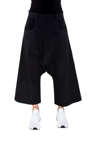 Shop Emerging Brand Monochrome Unisex Black Drop Gusset Trousers at Erebus