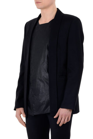 Shop emerging unisex brand Monochrome Waxed Panel Blazer Black - Erebus - 1