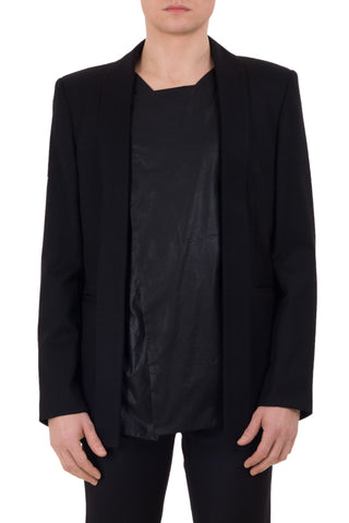 Shop emerging unisex brand Monochrome Waxed Panel Blazer Black - Erebus - 5