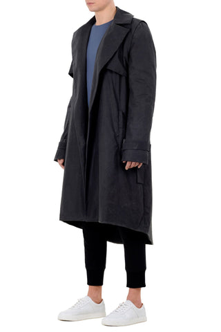 Shop emerging unisex brand Monochrome Anthracite Waxed Long Coat - Erebus - 1
