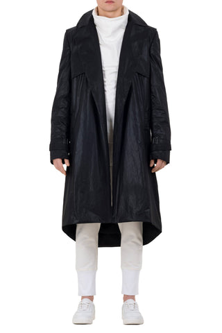 Shop emerging unisex brand Monochrome Black Waxed Long Coat - Erebus - 8