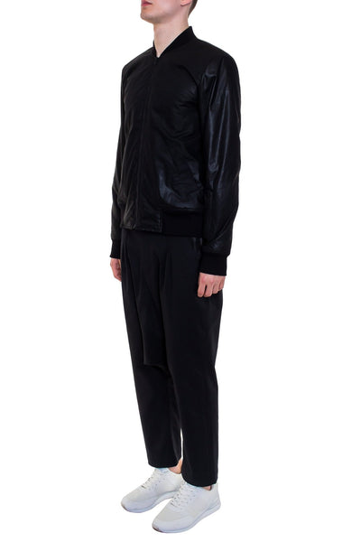 Shop Emerging Brand Monochrome Black Waxed Bomber Jacket at Erebus