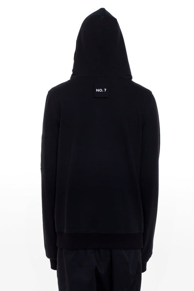 Shop Emerging Brand Monochrome Black Unisex Chaos Hoodie at Erebus