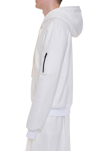 Shop Emerging Brand Monochrome Off-White Protect Hoodie at Erebus