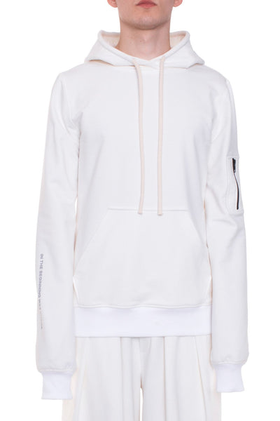 Shop Emerging Brand Monochrome Off-White Unisex Chaos Hoodie at Erebus