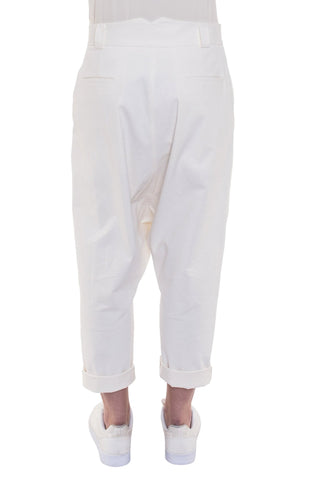 Shop Emerging Brand Monochrome Unisex Off-White Gusset Trousers at Erebus