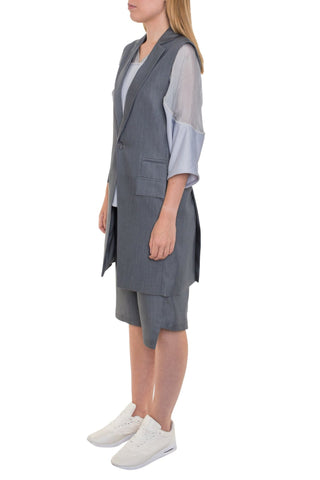 Shop Emerging Brand Unisex Monochrome Grey Sleeveless Blazer at Erebus