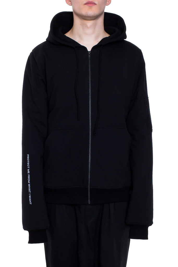 Shop Emerging Brand Monochrome Black Protect Hoodie at Erebus