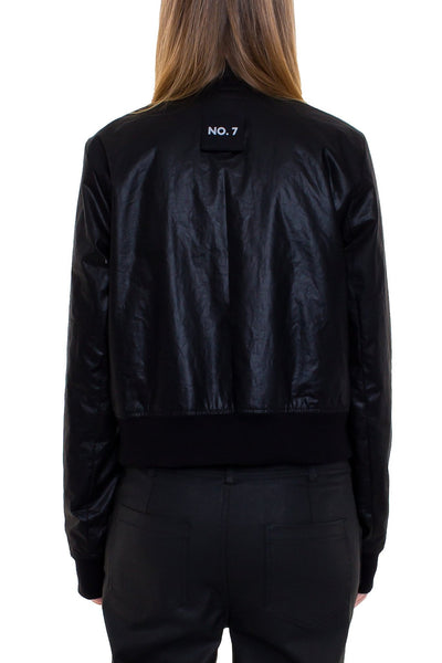 Shop Emerging Brand Monochrome Cropped Wax Bomber Jacket at Erebus