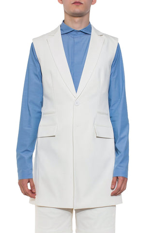 Shop Emerging Brand Unisex Monochrome Off-White Sleeveless Blazer at Erebus