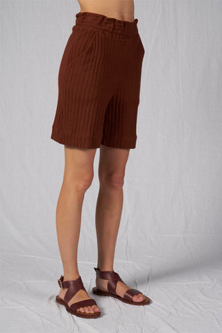 Shop Emerging Slow Fashion Conscious Conceptual Brand Cora Bellotto Ribbed Organic Cotton Garnet Shorts at Erebus