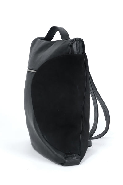 Shop emerging slow fashion accessory designer Anoir by Amal Kiran Jana black leather and suede Infinite Whirling Backpack - Erebus