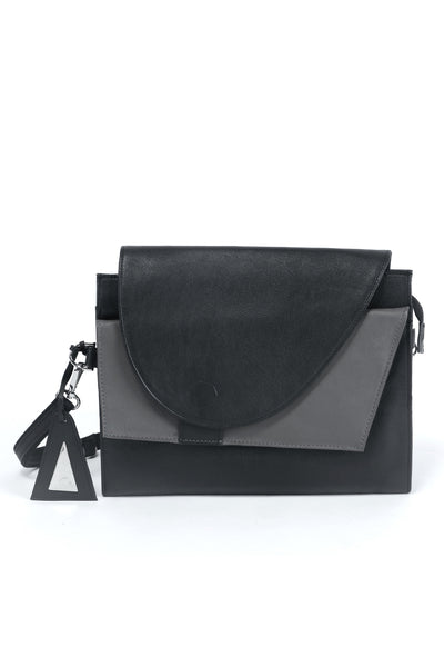 Shop emerging slow fashion accessory designer Anoir by Amal Kiran Jana black and grey leather Infinite Whirling Clutch - Erebus