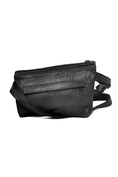 Shop emerging slow fashion accessory designer Anoir by Amal Kiran Jana black leather Infinite Whirling Double Waist Pouch - Erebus