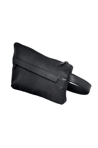 Shop emerging slow fashion accessory designer Anoir by Amal Kiran Jana black leather Infinite Whirling Waist Pouch - Erebus