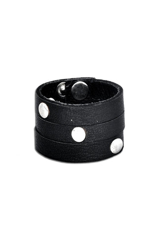 Shop emerging slow fashion accessory designer Anoir by Amal Kiran Jana black leather Infinite Whirling Bracelet - Erebus