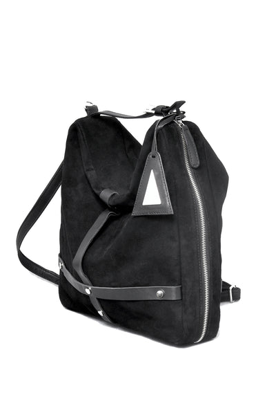 Shop emerging slow fashion accessory designer Anoir by Amal Kiran Jana black leather and suede Infinite Whirling Transformable Shoulder Bag - Erebus