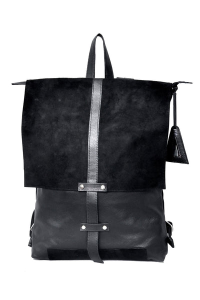 Shop emerging slow fashion accessory designer Anoir by Amal Kiran Jana black leather and suede Infinite Whirling Suede Backpack - Erebus