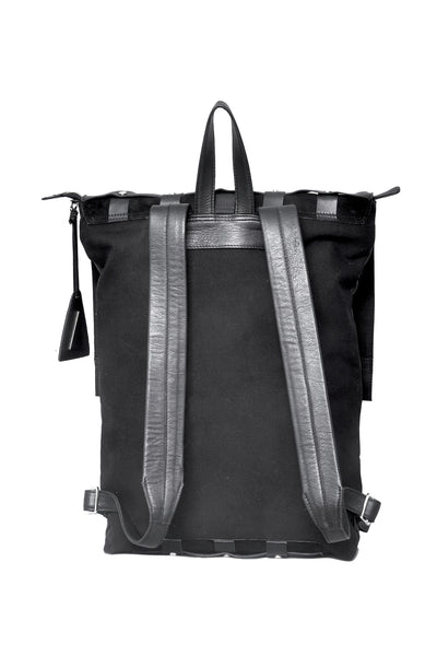 Shop emerging slow fashion accessory designer Anoir by Amal Kiran Jana black leather and suede Infinite Whirling Stripe Backpack - Erebus
